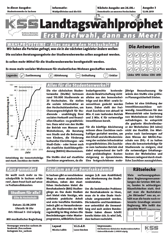 Die dritte Ausgabe des Landtagswahlpropheten zum Thema Studentenwerke mit einem Beitrag zu den Berufsakademien Sachsen