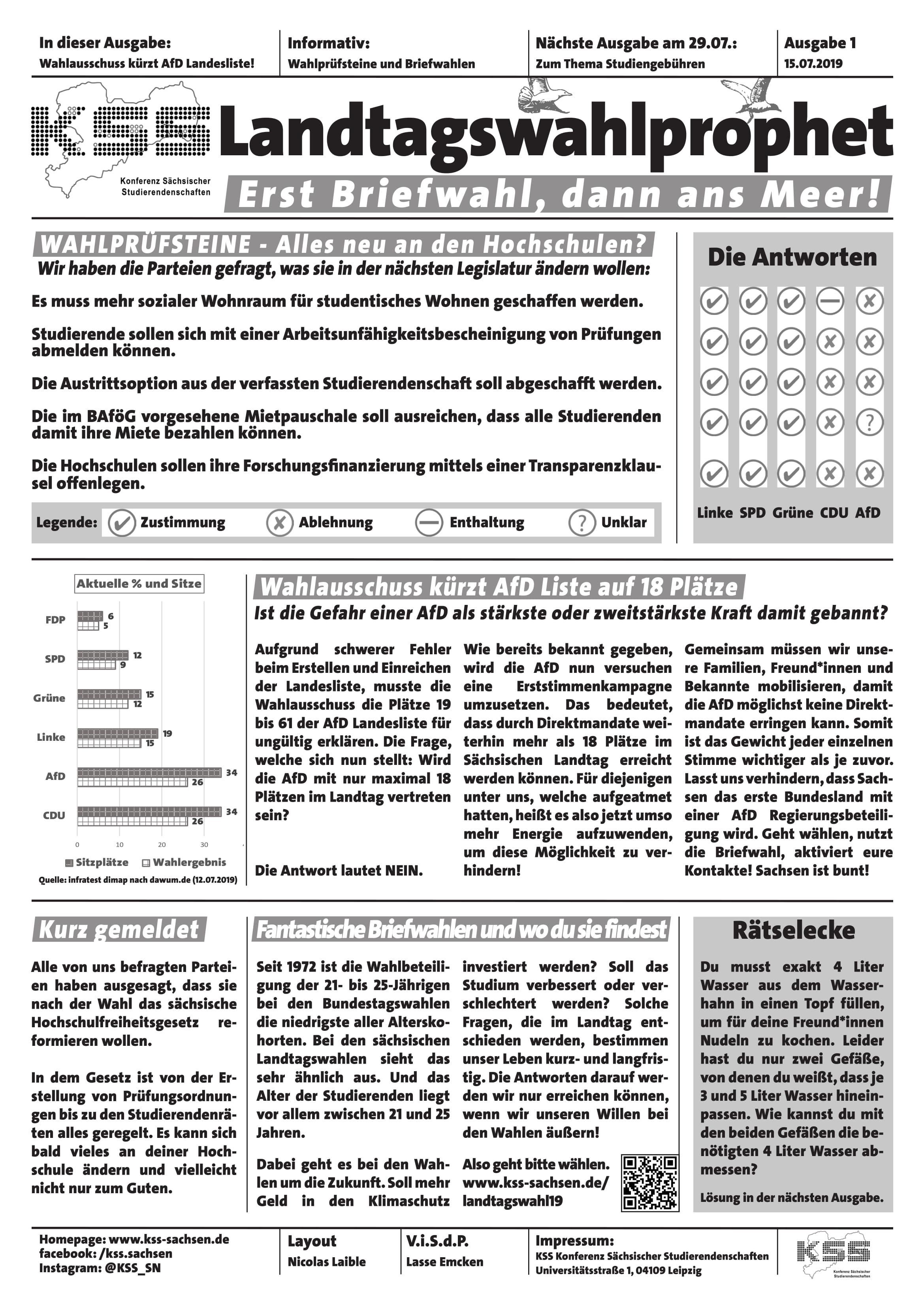 Eine Zeitung zu den Landtagswahlen